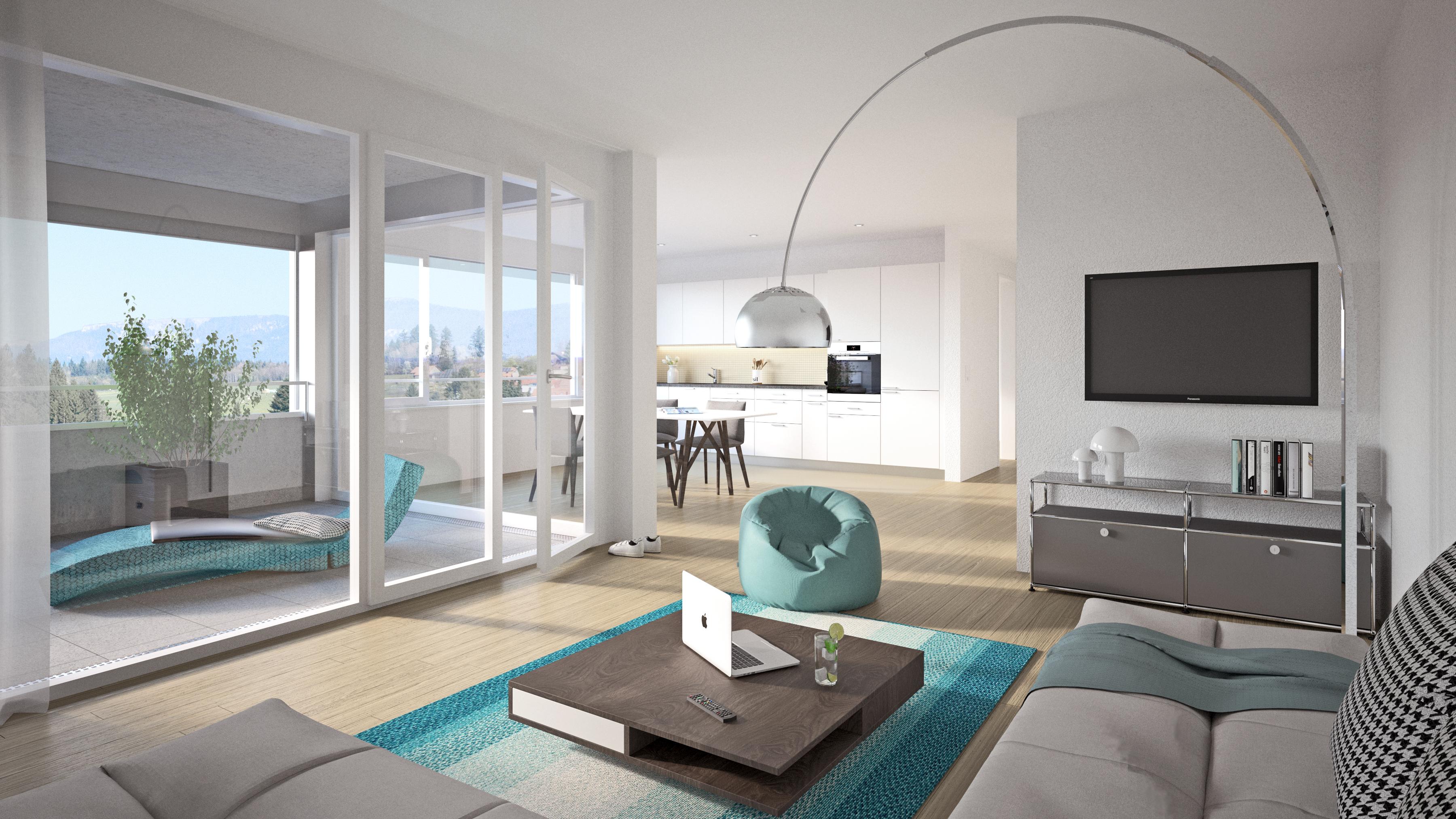 LOHNEND Entspannt Wohnen und Arbeiten in Lohn Lohn-Ammannsegg Solothurn Ausblick Weitblick Zeitgest Edel Komfortabel Gemütlich Zentral Modern Wohnung Mieten